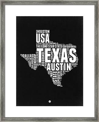 Texas Word Cloud Black And White Map Framed Print by Naxart Studio