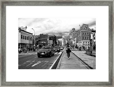 Texting On 7th Avenue Framed Print by John Rizzuto