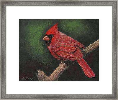 Textured Cardinal Framed Print by Janet King