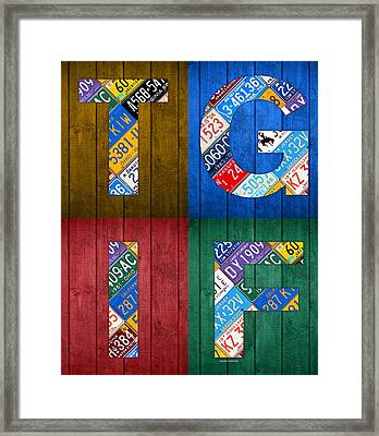 Tgif Thank Goodness Its Friday Recycled Vintage License Plate Art Letter Sign Framed Print by Design Turnpike