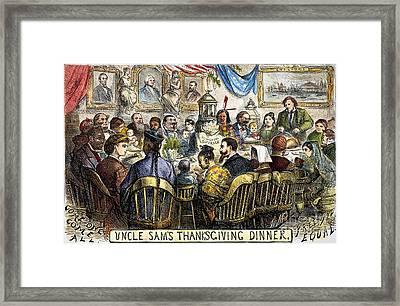 Thanksgiving Cartoon, 1869 Framed Print by Granger