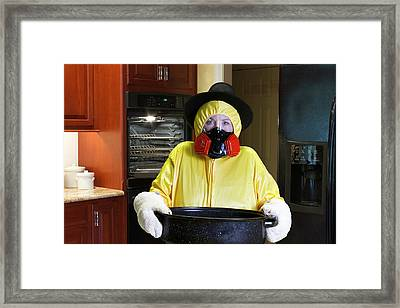 Thanksgiving Dinner Disaster With Hazmat Suit Framed Print by Karen Foley