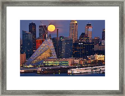 Thanksgiving Moon Over Manhattan  Framed Print by Regina Geoghan
