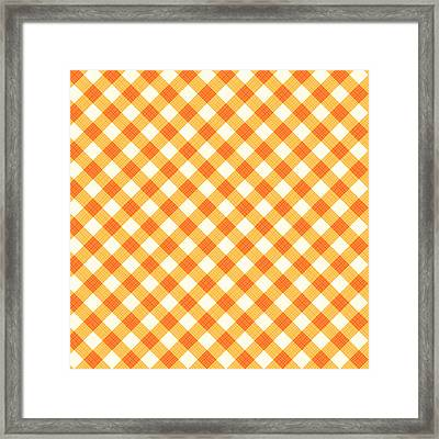 Thanksgiving Or Autumn Gingham Fabric Texture Framed Print by Natalia Ratselmeister