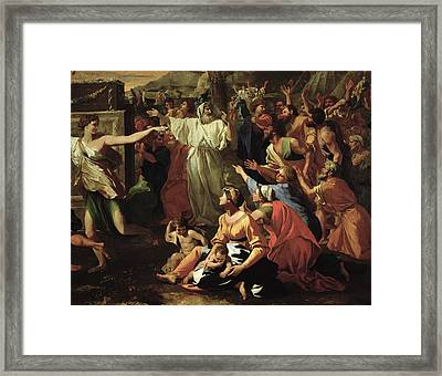 The Adoration Of The Golden Calf Framed Print by Nicolas Poussin