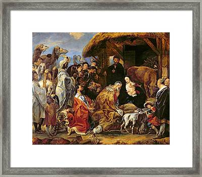 The Adoration Of The Magi Framed Print by Jacob Jordaens
