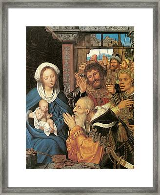 The Adoration Of The Magi Massys Framed Print by Quentin Massys