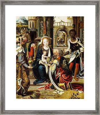 The Adoration Of The Magi Framed Print by Pieter Coecke van Aelst