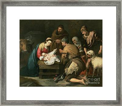 The Adoration Of The Shepherds Framed Print by Bartolome Esteban Murillo