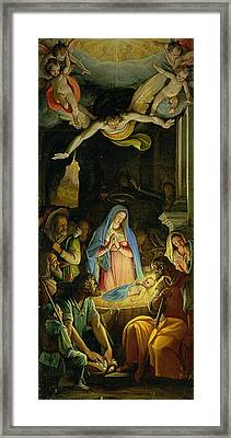 The Adoration Of The Shepherds Framed Print by Federico Zuccaro