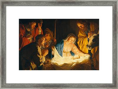 The Adoration Of The Shepherds Framed Print by Gerrit van Honthorst