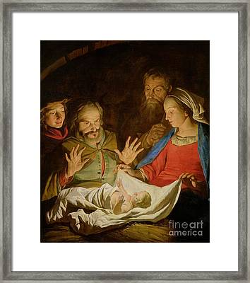 The Adoration Of The Shepherds Framed Print by Matthias Stomer