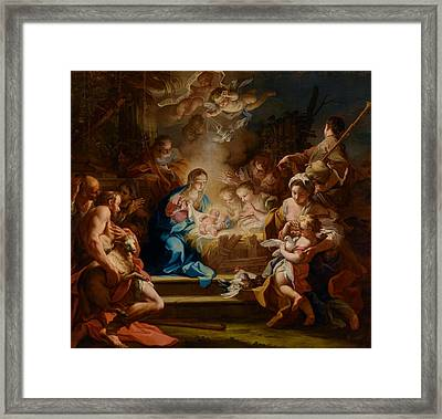 The Adoration Of The Shepherds Framed Print by Sebastiano Conca