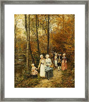 The Afternoon Stroll Framed Print by Marie Francois Firmin Girard