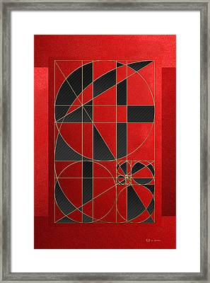 The Alchemy - Divine Proportions - Black On Red Framed Print by Serge Averbukh