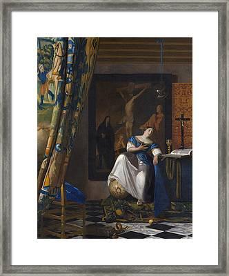 The Allegory Of The Faith Framed Print by Jan Vermeer