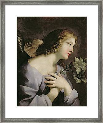 The Angel Of The Annunciation Framed Print by Giovanni Francesco Romanelli