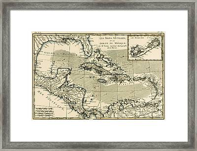 The Antilles And The Gulf Of Mexico Framed Print by Guillaume Raynal