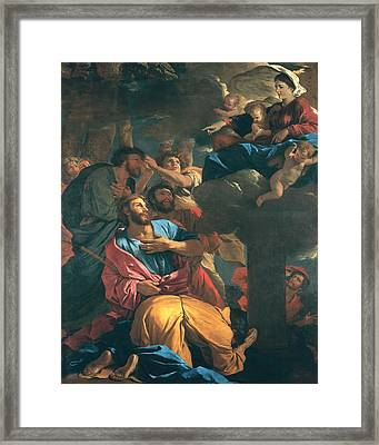 The Apparition Of The Virgin The St James The Great Framed Print by Nicolas Poussin