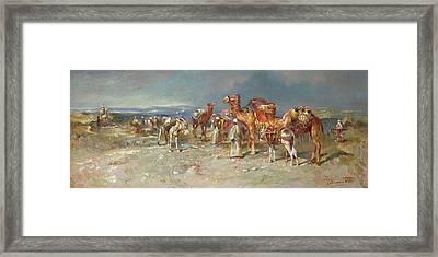 The Arab Caravan   Framed Print by Italian School