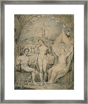 The Archangel Raphael With Adam And Eve  Framed Print by William Blake