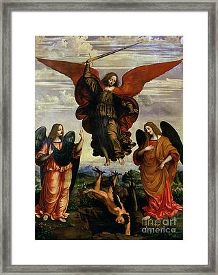 The Archangels Triumphing Over Lucifer Framed Print by Marco DOggiono