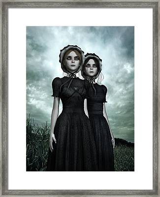 They Are Coming - The Halloween Twins Framed Print by Britta Glodde
