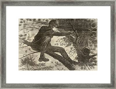 The Army Of The Potomac  A Sharpshooter Framed Print by Winslow Homer