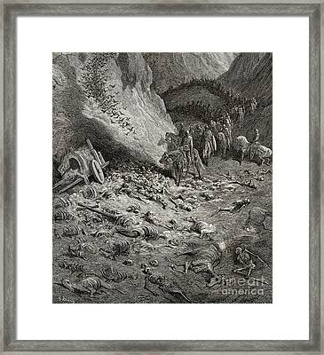 The Army Of The Second Crusade Find The Remains Of The Soldiers Of The First Crusade Framed Print by Gustave Dore