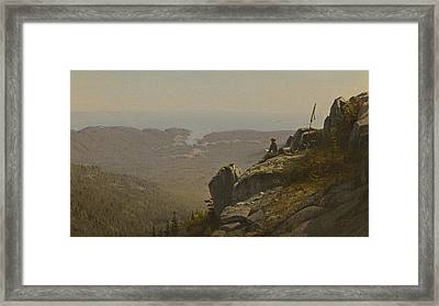 The Artist Sketching At Mount Desert Framed Print by Sanford Robinson Gifford
