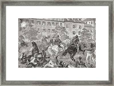 The Assassination Attempt On King Louis Framed Print by Vintage Design Pics
