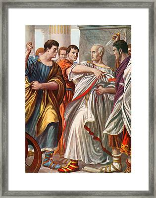 The Assassination Of Julius Caesar Framed Print by Tancredi Scarpelli