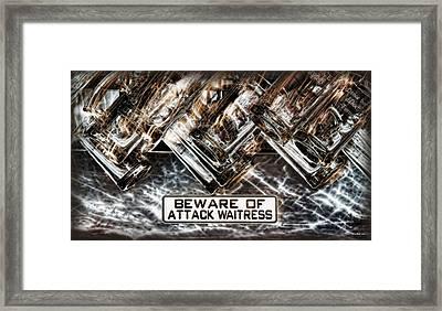 The Attack Waitress  Framed Print by Joan  Minchak