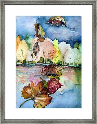 The Autumn Leaves Drift By My Window Framed Print by Mindy Newman
