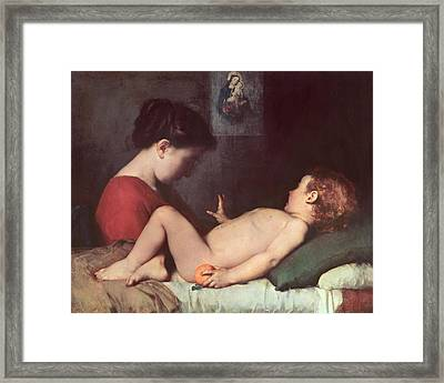 The Awakening Child Framed Print by Jean Jacques Henner