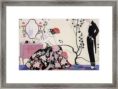 The Backless Dress Framed Print by Georges Barbier
