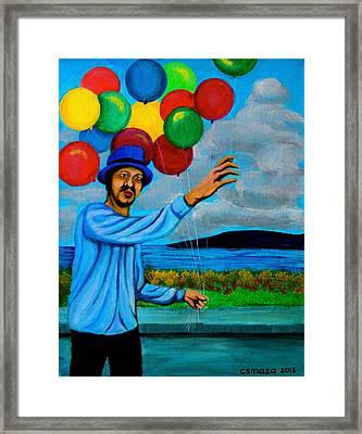 The Balloon Vendor Framed Print by Cyril Maza