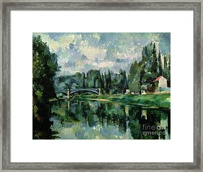 The Banks Of The Marne At Creteil Framed Print by Paul Cezanne