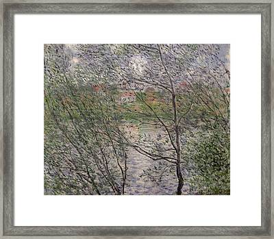 The Banks Of The Seine Framed Print by Claude Monet
