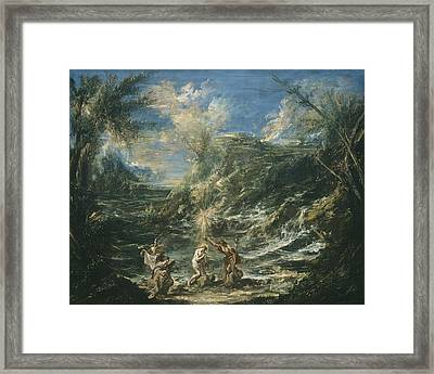 The Baptism Of Christ Framed Print by Alessandro Magnasco