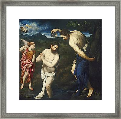 The Baptism Of Christ Framed Print by Paris Bordone