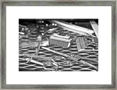 The Barber Shop 10 Bw Framed Print by Angelina Vick