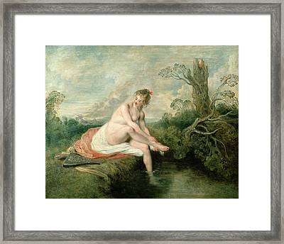 The Bath Of Diana Framed Print by Jean Antoine Watteau