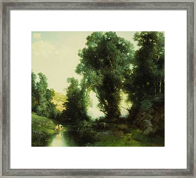 The Bathing Hole Framed Print by Thomas Moran