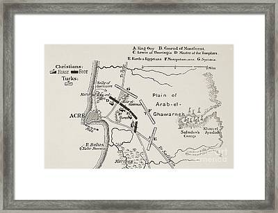 The Battle Of Acre, 4th October 1189 Framed Print by English School
