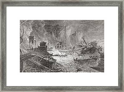 The Battle Of Actium, At Which Octavian Framed Print by Vintage Design Pics