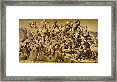 The Battle Of Cascina Framed Print by Aristotile da Sangallo