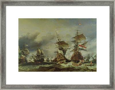 The Battle Of Texel Framed Print by Louis Eugene Gabriel Isabey