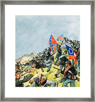 The Battlefield At Gettysburg Framed Print by Leo Davy