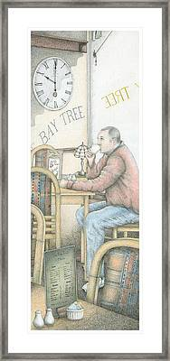 The Bay Tree Cafe Clock Framed Print by Sandra Moore
